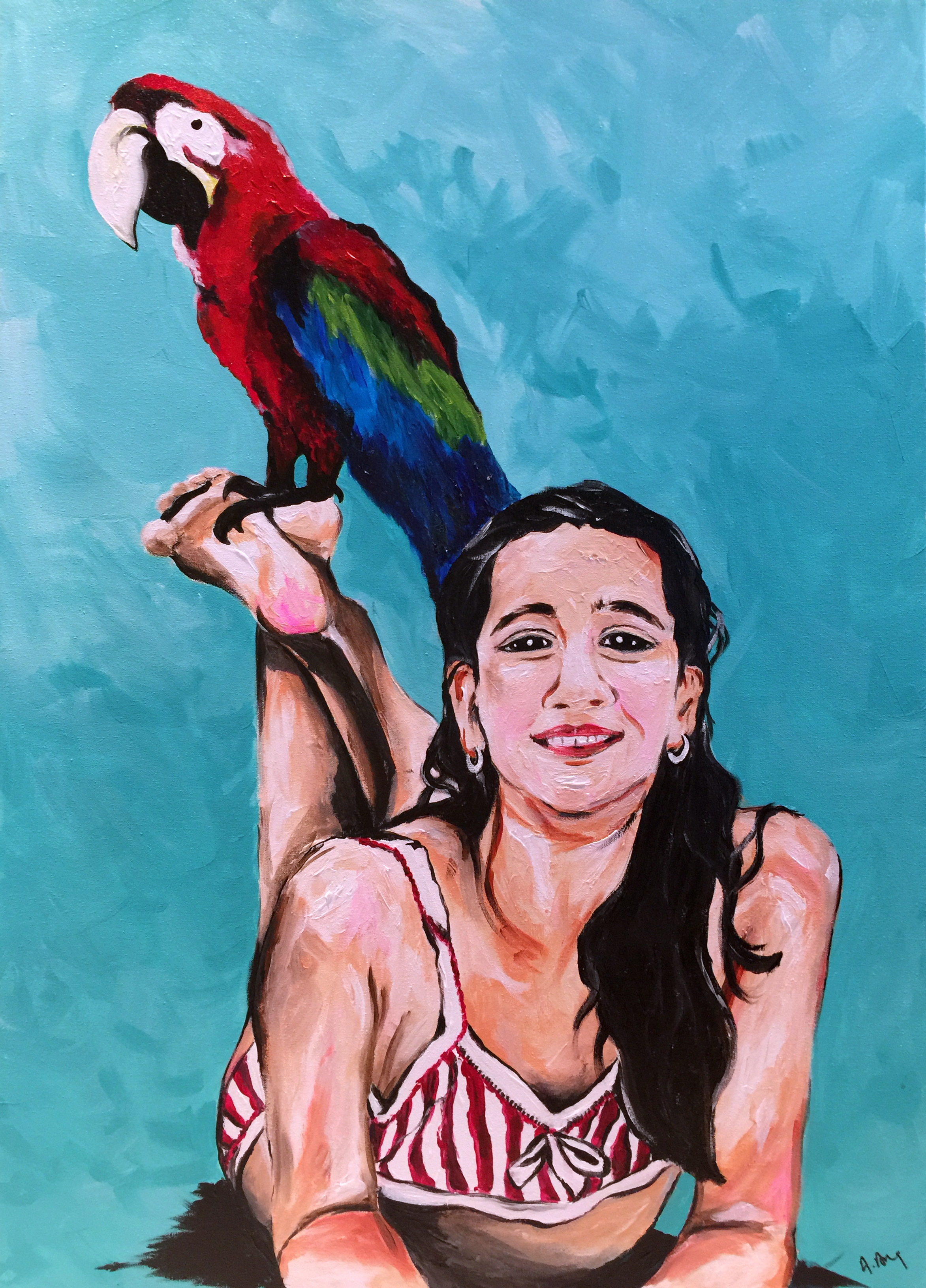 Anissa and her feathered friend (60 x 90)
