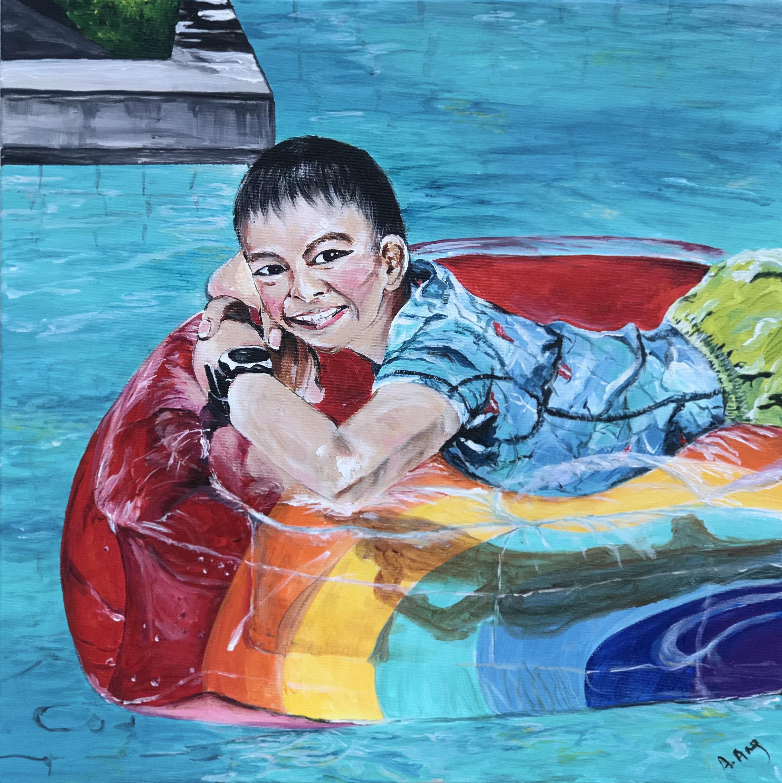 Boy on float (60x60)