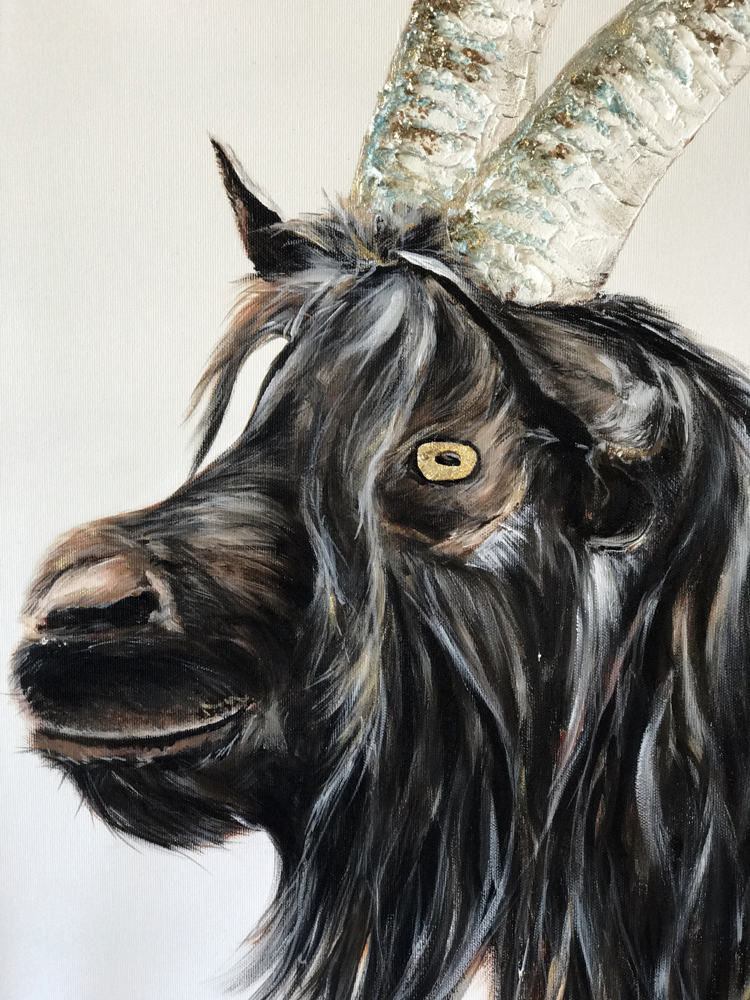 Black-neck goat with magical horns 60 x 60 (Not for sale)