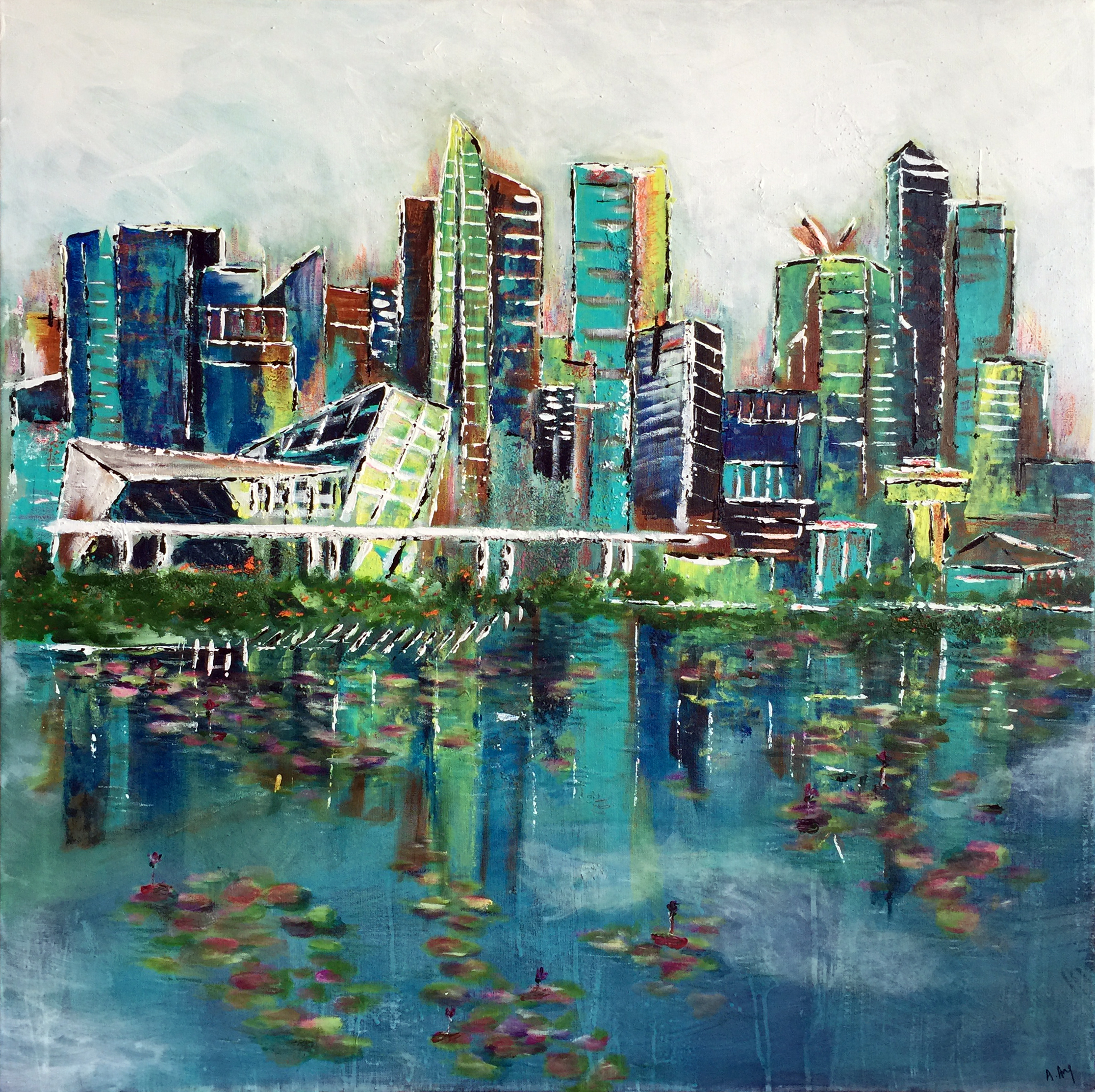 Singapore reflections (100x100) mixed media