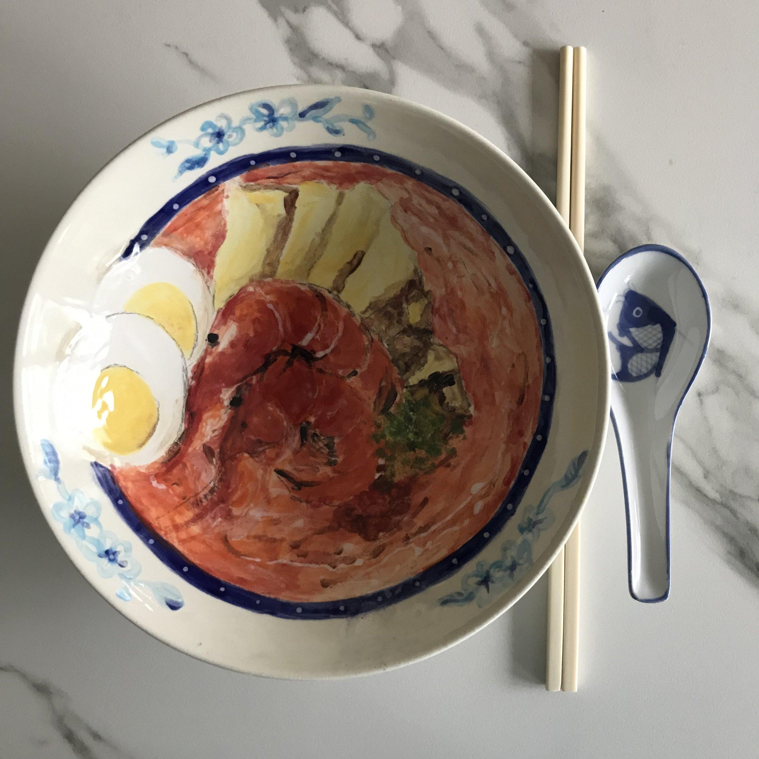 A piping hot bowl of Singapore Laksa