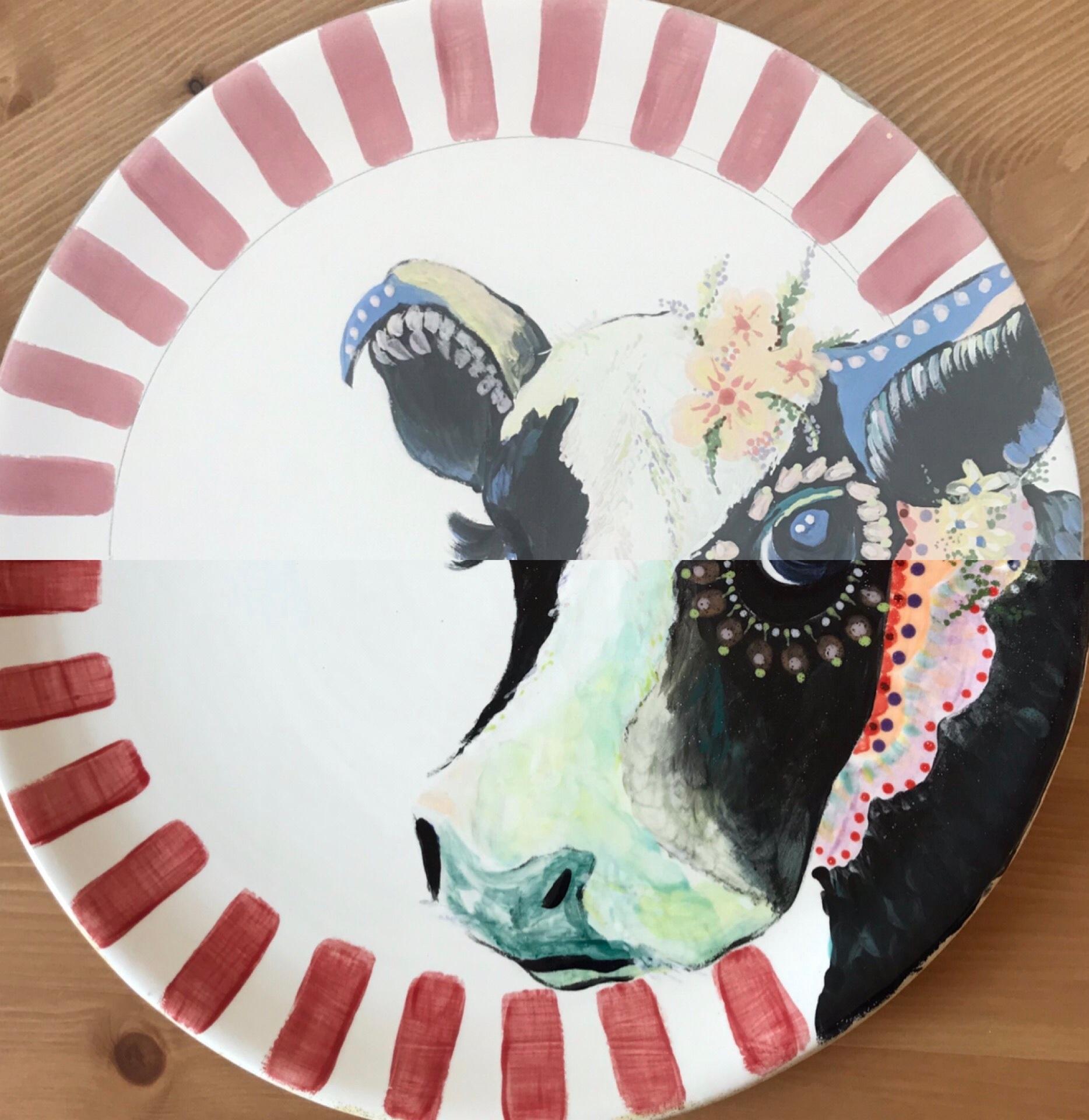 Ceramic painting - Hippie cow