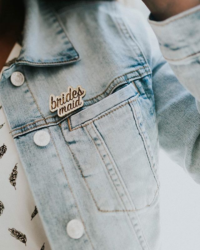 Who loves a brooch!?!? ✨ New laser engraved YUMMINESS. I am a sucker for subtle details, so of course we created these chic bachelorette pins to add to the shop!