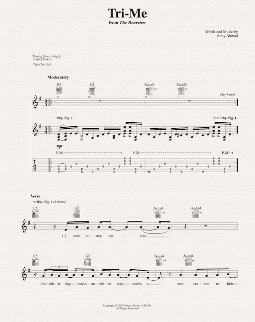 Lyrics/Melody + Chord Diagrams + Tab