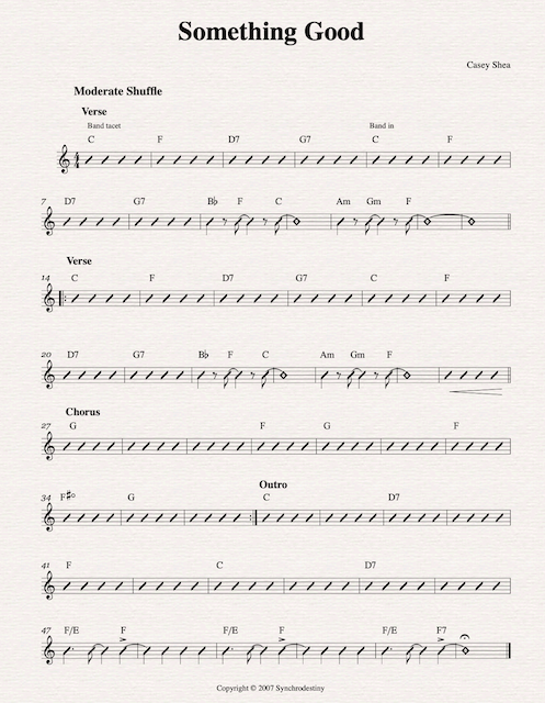Lead Sheet (w/ chord names or diagrams)