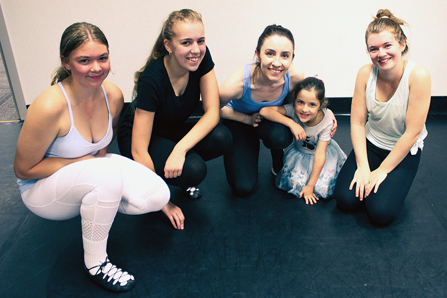 Group of Irish dancers with teacher Louise Lenihan