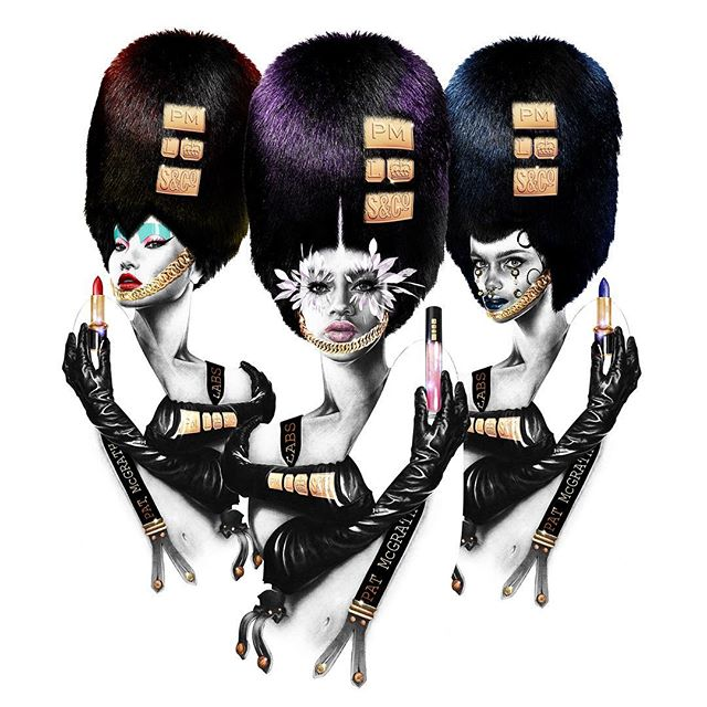 Ever grateful to @patmcgrathreal for an AMAZING opportunity!! A huge career moment for me as #PatTakesLondon and lands @theofficialselfridges💂🏼♂️🇬🇧 Go check out her Technicolor Odyssey!! #illustration #patmcgrath #beauty #graphic #art #makeup #london #cosmetics #fashion #fetish #punk #formation #lineup #odyssey #colour