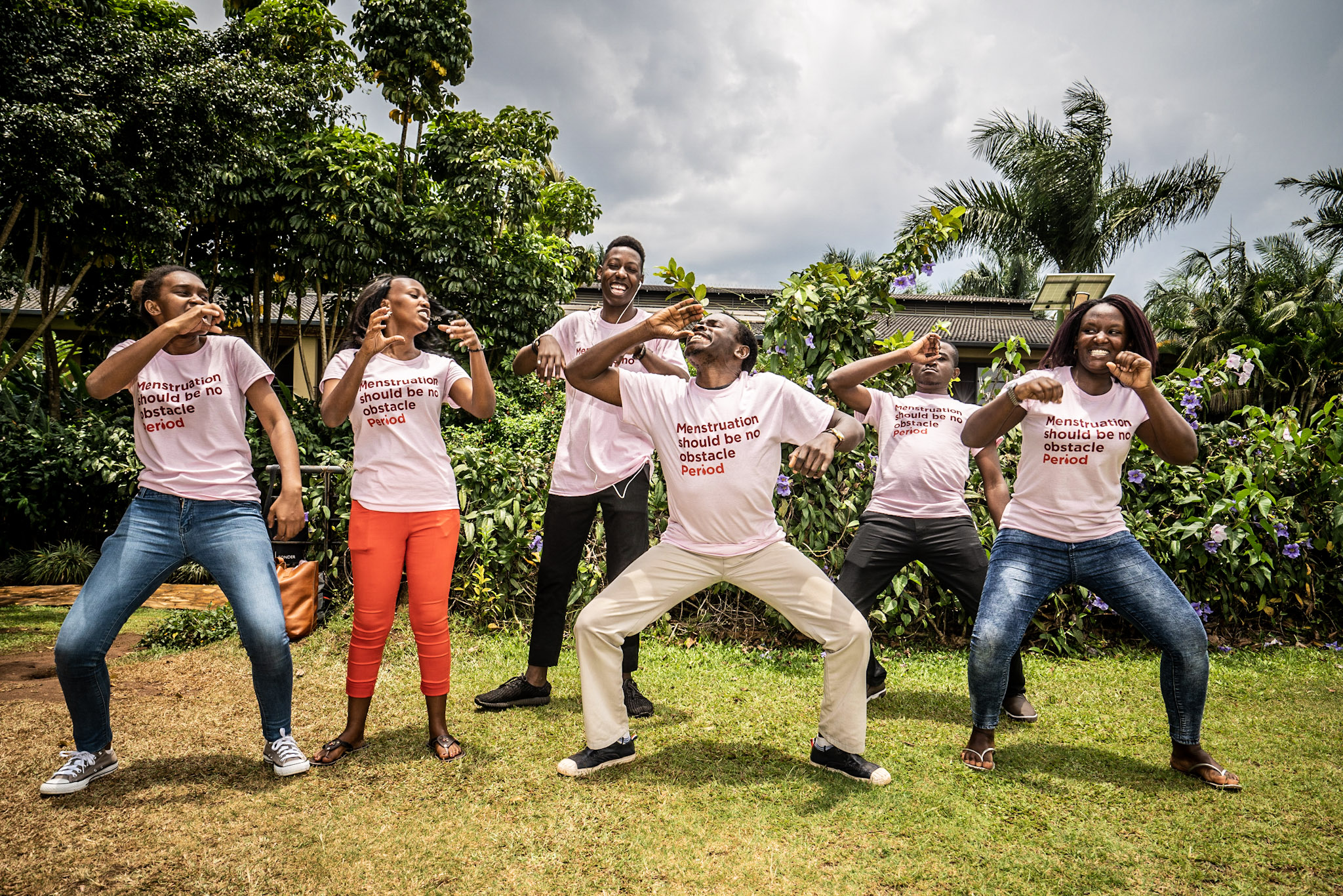 """Wellbeing Foundation dancing their """"menstruation dance"""" in September 2018 during the pre study.    Photo Ulf Lundquist"""