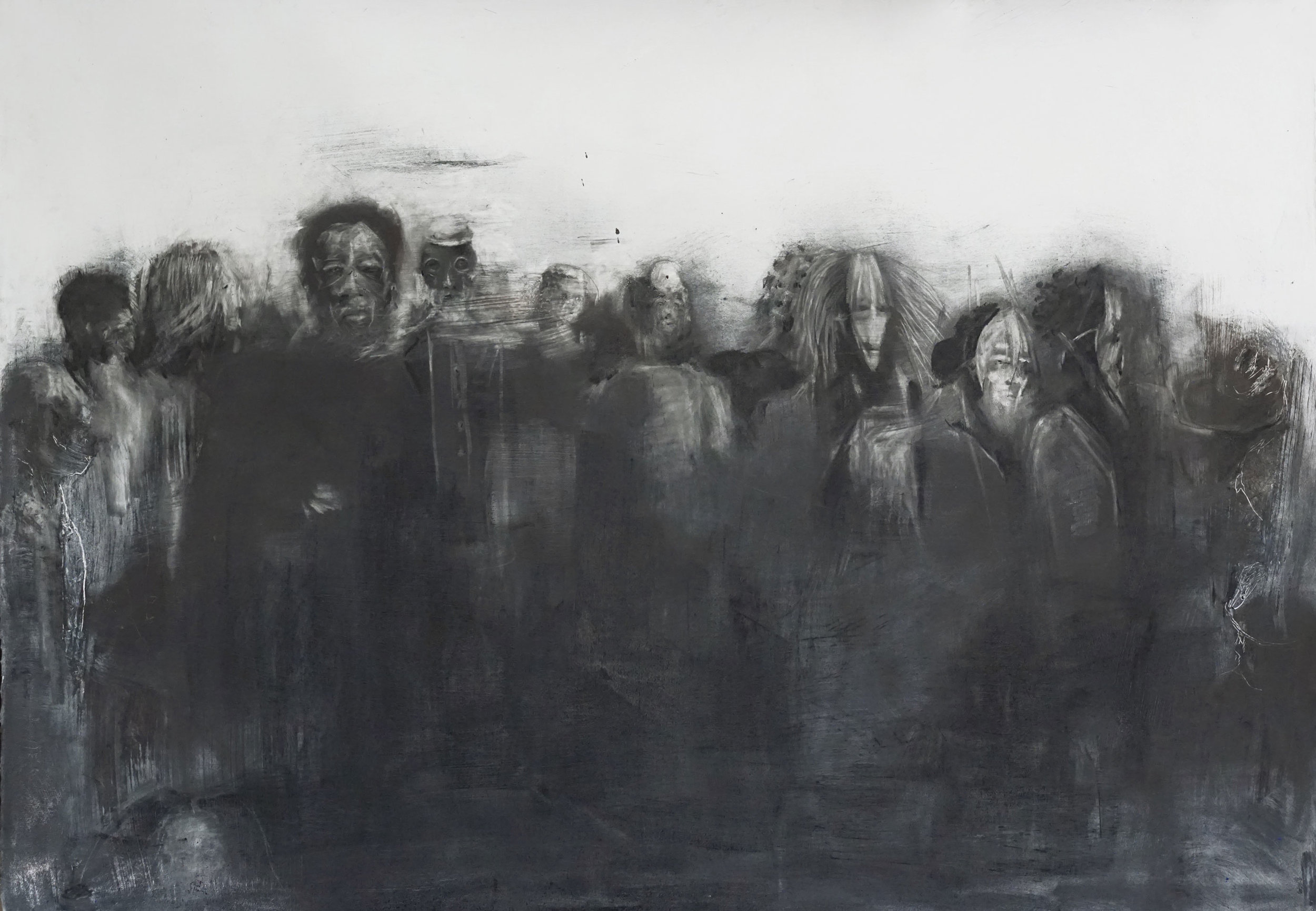 """Refutaions (for those waiting for light)  , 33""""x46"""", graphite and metals on paper. 2019"""