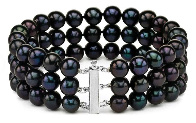 New Years Eve Black Pearl Bracelet Both Black Bracelet Black Pearl Rhinestone Bracelet Funeral Black Pearl Bracelet Black Pearl Bracelet