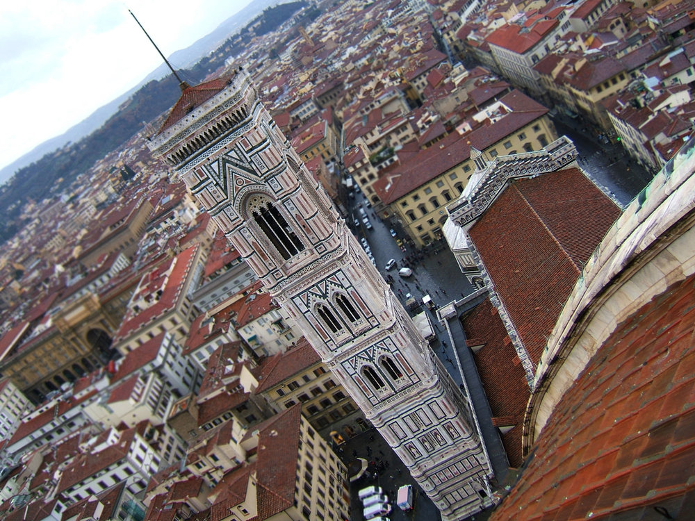 If you want, you are welcome to climb up through the tight squeeze of the double-helix passage way in the Duomo of the Cattedrale di Santa Maria del Fiore. Or you can just shop. That's okay, too.