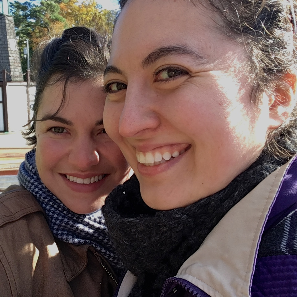 Emily (left) and Ana Maria (right) enjoying the fall colors in Wisconsin's Northwoods, 2018.