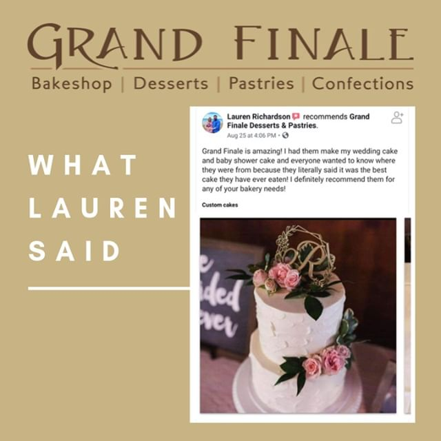 """Grand Finale is amazing! I had them make my wedding cake and baby shower cake and everyone wanted to know where they were from because they literally said it was the best cake they have ever eaten! I definitely recommend them for any of your bakery needs!""⠀⠀⠀⠀⠀⠀⠀⠀⠀ Thanks, Lauren, for your awesome review and trusting us with your important events! ❤️⠀⠀⠀⠀⠀⠀⠀⠀⠀ .⠀⠀⠀⠀⠀⠀⠀⠀⠀ .⠀⠀⠀⠀⠀⠀⠀⠀⠀ .⠀⠀⠀⠀⠀⠀⠀⠀⠀ .⠀⠀⠀⠀⠀⠀⠀⠀⠀ .⠀⠀⠀⠀⠀⠀⠀⠀⠀ #GrandHavenBakeries #GrandHavenBakery #GrandHavenCakes #WestMichiganWeddingCakes #BabyShowerCakes #ShopLocal #ShopGrandHaven #Instacake #Instawedding #CustomerSatisfaction #GrandFinaleBakery #GrandFinale"