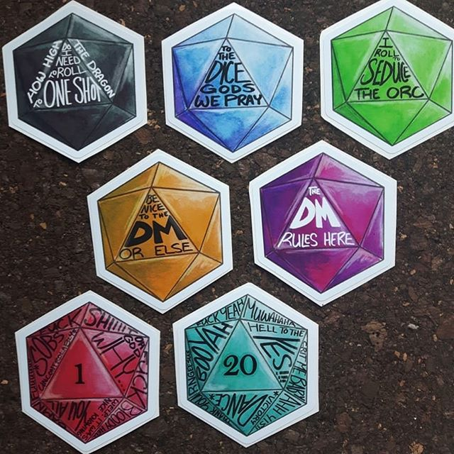 MORE D20 STICKERS!!!! Inspired by stuff said during games.  I think we all know which class caused the green dice... #d20 #stickers #613geekmarket #ottawageekmarket #ottawaartist