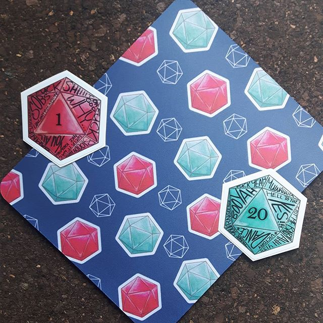 Like tabletop rpgs?  I've got a d20 line for you 😎  D20 mousepads and a variety of stickers inspired by things my friends have done... #613geekmarket #ottawageekmarket #d20 #artistalley