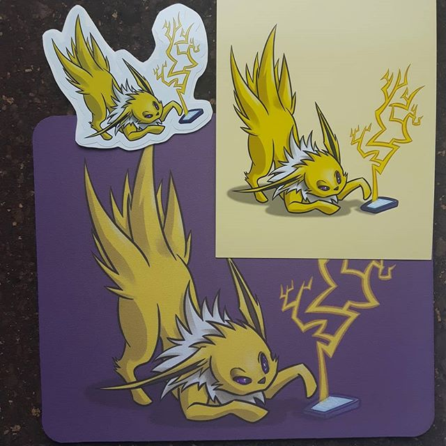 Wat dis???? Last but not least, Jolteon is also available as prints, stickers AND mousepad for Geek Market woo!  No but srly... who else called their jolteon needlebutt?  I swear that what I nicknamed him in red version.... #jolteon #eeveelution #613geekmarket #ottawageekmarket #artistalley