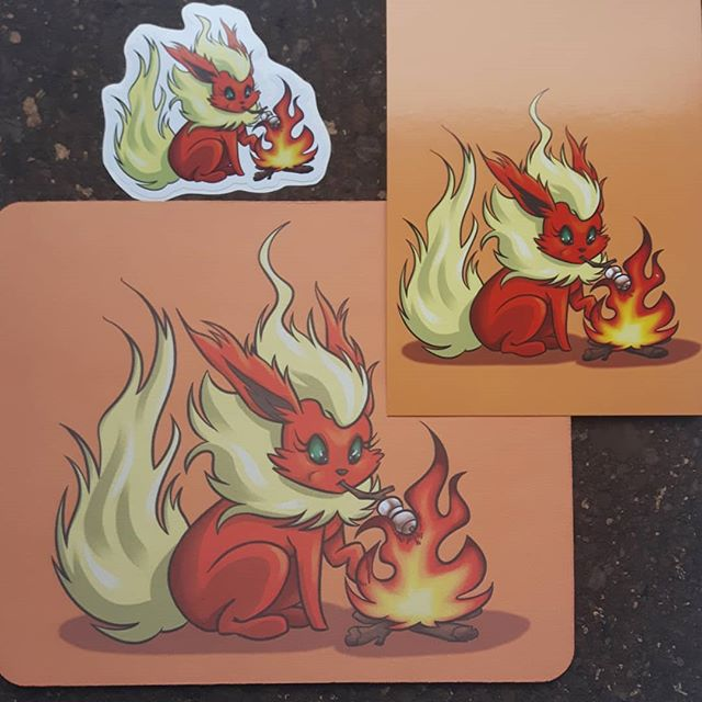 Mmmm roasted marshmellows... Flareon available as prints, stickers AND mousepads this weekend at booth 902 for Ottawa Geek Market!!! #flareon #eeveelution #613geekmarket #ottawageekmarket #artistalley