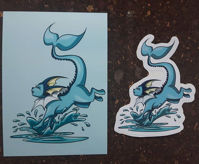 Make a splash like this happy go lucky Vaporeon!  I'll have prints and stickers of this one available at Ottawa Geek Market this weekend!  #vaporeon #eeveelution #613geekmarket #ottawageekmarket #artistalley #artoninstagram