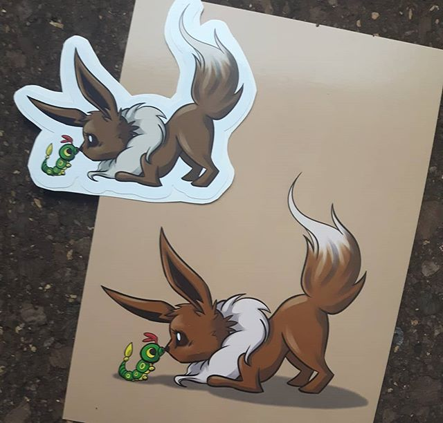 And at the center of it all... EEVEE!  #eevee #eeveelution #613geekmarket #stickers #artistalley #digitalart #ottawageekmarket