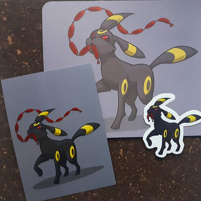 What a scamp!  Stealing dem noms 😎  Umbreon available as print, stickers AND mousepads for Ottawa Geek Market March 23-24 😊  #umbreon #eeveelution #ottawageekmarket #613geekmarket #digitalart #ottawaartist #artistalley