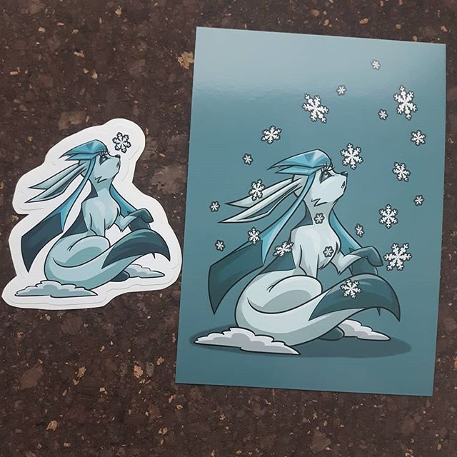 #stickers and prints of #glaceon available at booth 902 for Ottawa Geek Market 👌💎💙 #613geekmarket #ottawageekmarket #artistofottawa #artofinstagram #eeveelution #fanart