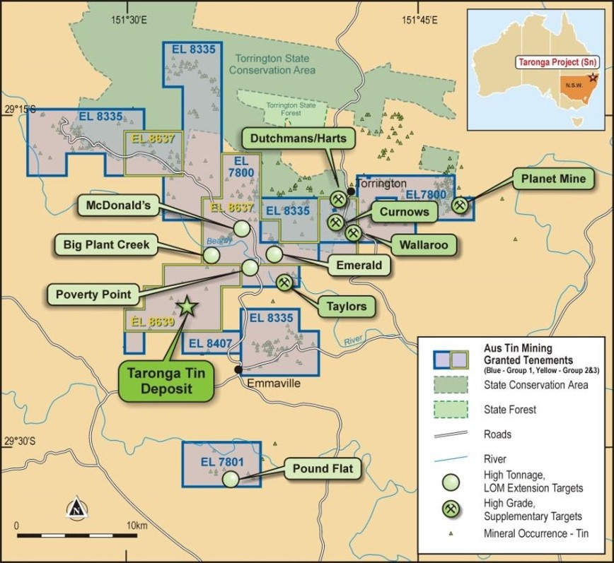 Aus Tin Mining's exploration package in NSW