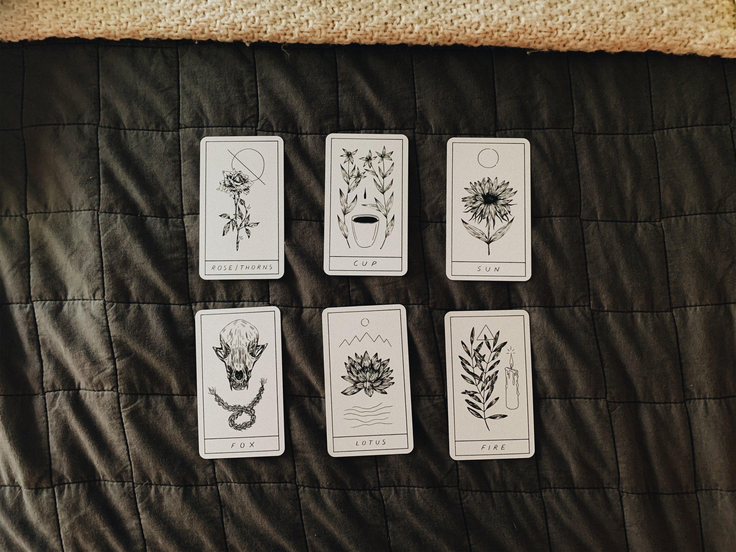 Decks:  The Hollow Valley Deck of Symbols  and The Smith/Waite Tarot  Spread:  Biddy Tarot