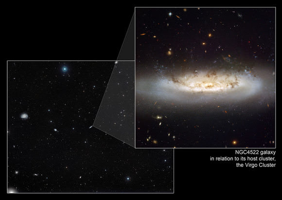 Image:    Impact of ram pressure stripping on NGC4522. This image shows NGC 4522 within the Virgo Cluster and the impact of ram pressure stripping in that environment.    Credit: NASA, ESA and the Digitized Sky Survey 2. Acknowledgment: Davide De Martin (ESA/Hubble)