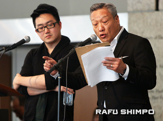 Actors Edward Hong and Kelvin Han Yee read actual correspondence between a Nisei soldier of the 442nd RCT and his Issei father in camp.