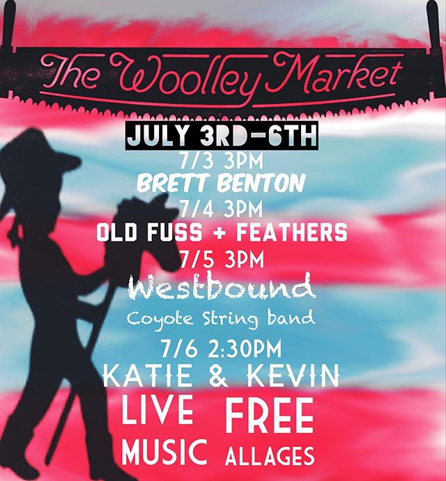 July 3rd-6th we have some killer bands on the Cedar Stage! Don't miss the fun! . . . . @brettbenton_  @westboundcoyotestringband @oldfussandfeathersco #skagitvalley #skagitartmusic #skagit #sedrowoolley #thewoolleymarket #livemusic #alittlebitofeverything