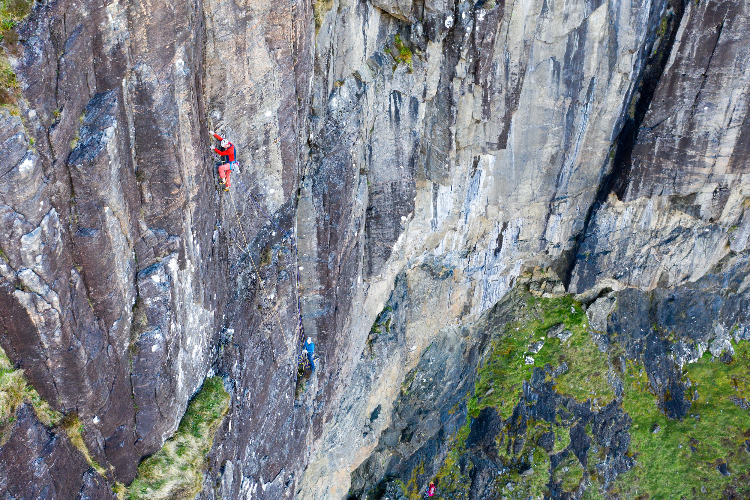 Myself and Keita on the FA of From The Depths E6 6c, 5c. Another top quality new route we added to this cliff.