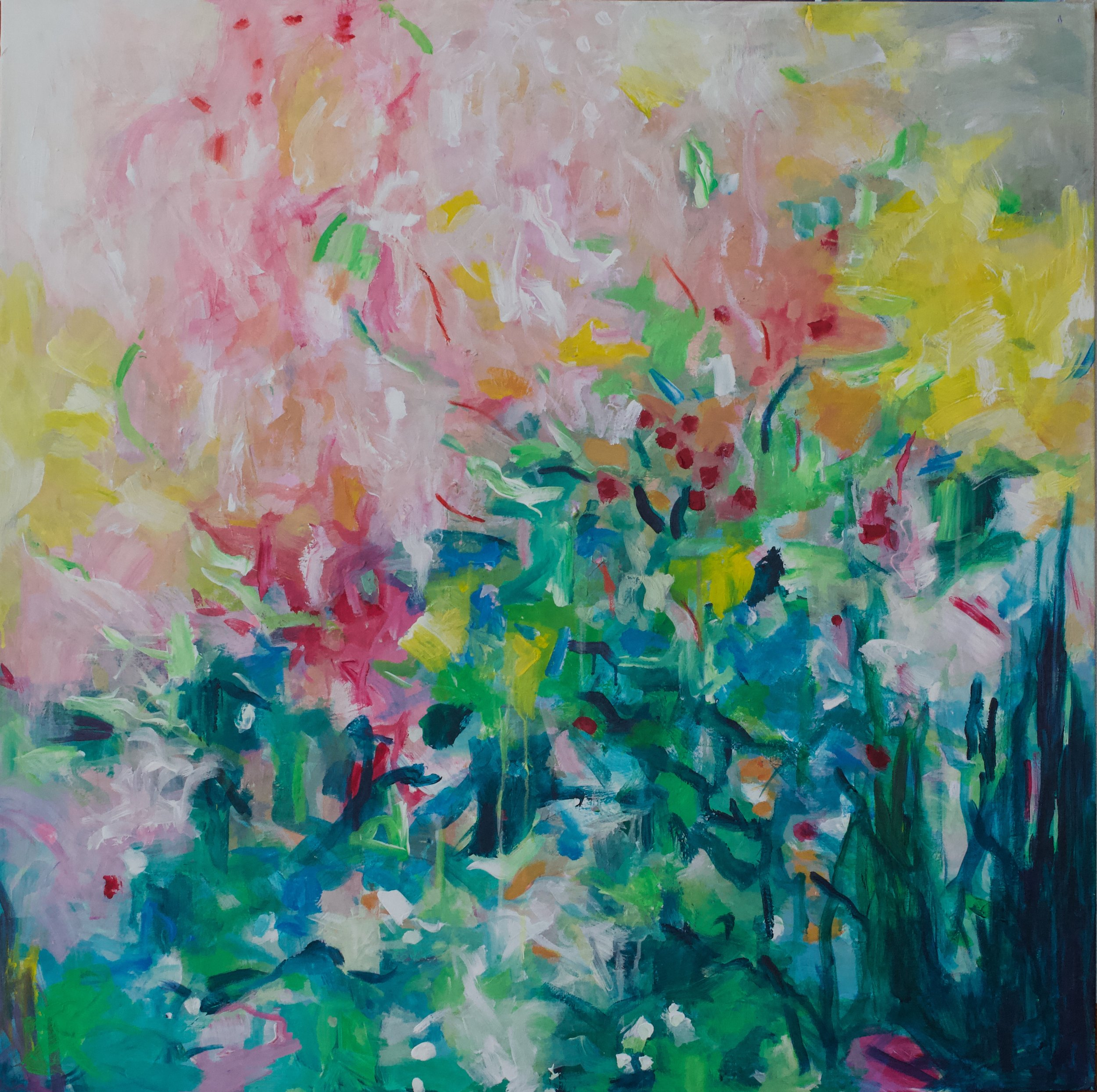 Flowers enjoying the sun 100 x 100 x 3,5 cm acrylics on canvas