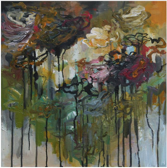 In the garden 50 x 50 x 3,7 cm acrylics and ink on canvas
