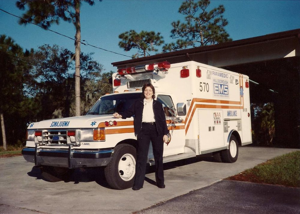 Rescue 12 was for years referred to as ALS 570. Here I am standing in front of my ambulance, just a few years before this novel was written!
