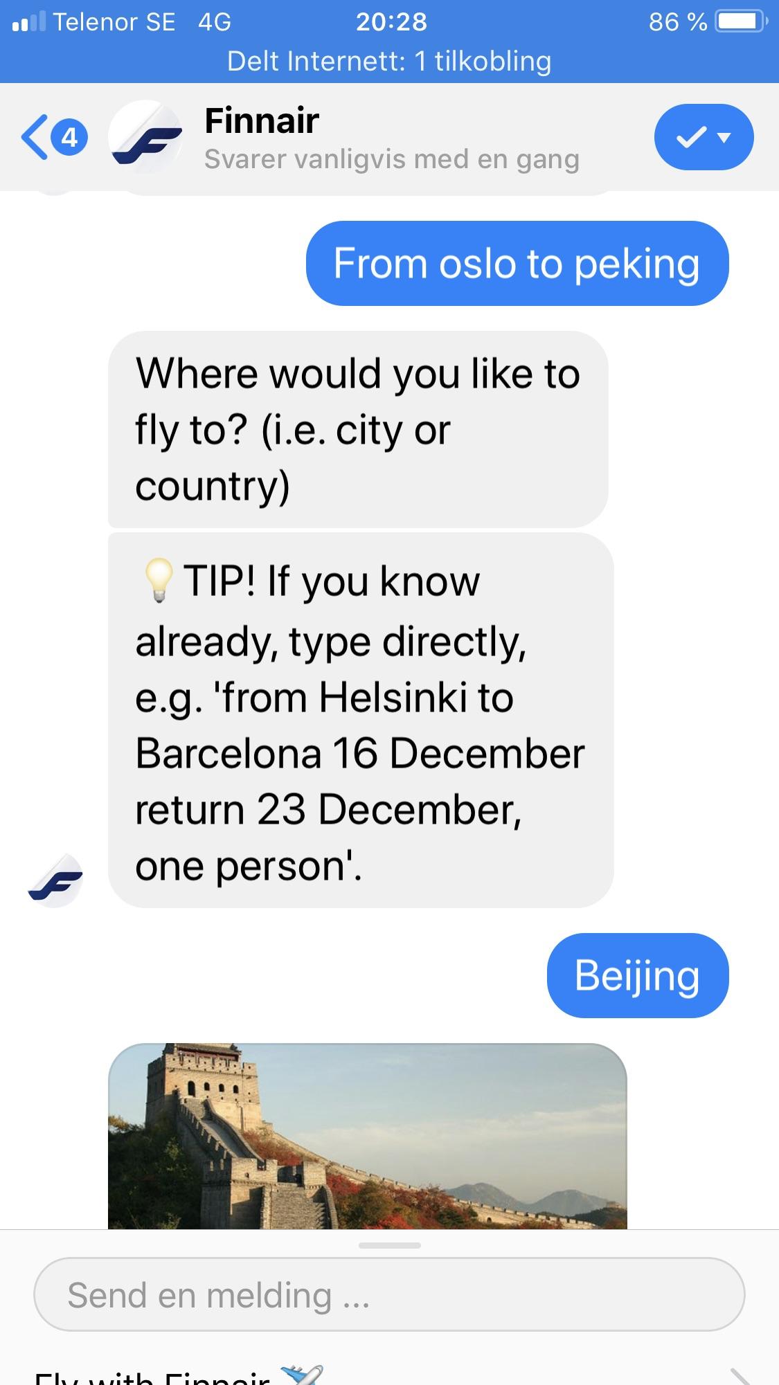 Finnair travel chatbot