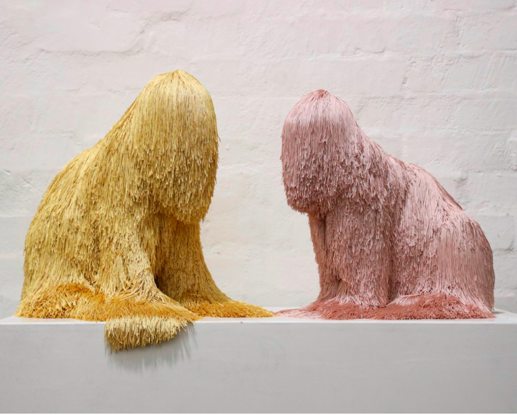 Gold game, polyester, polyurethane, pins, adhesive, 48 x 50 x 39 cm, 2019 (left)  Sweet lady, polyester, polyurethane, pins, adhesive, 43 x 49 x 30 cm, 2019 (right)