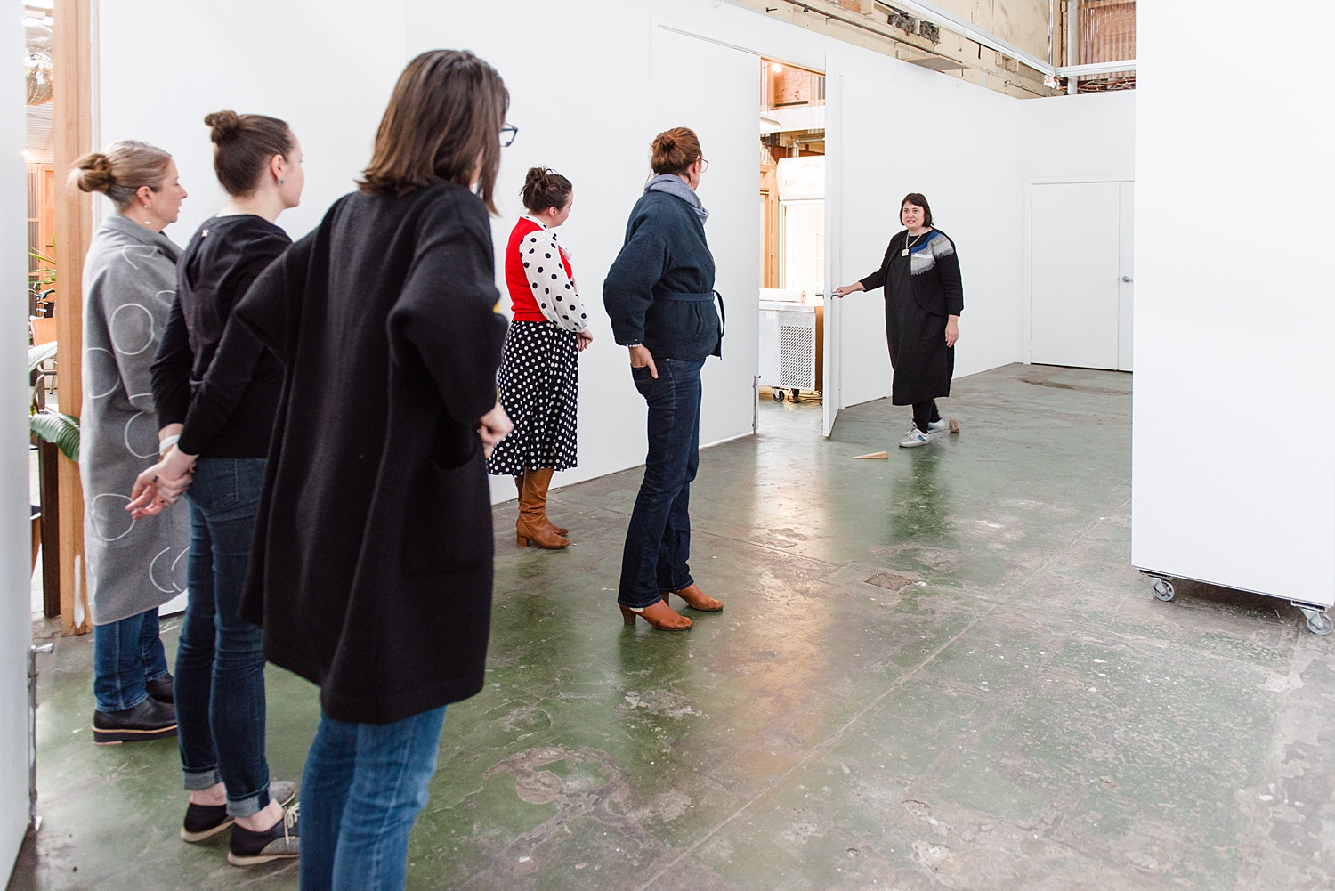 Members with mentor Jacqui Stockdale at member Q&A event discussing curation for the exhibition. SUN 28 JUL 2019  Image by: Samara Clifford