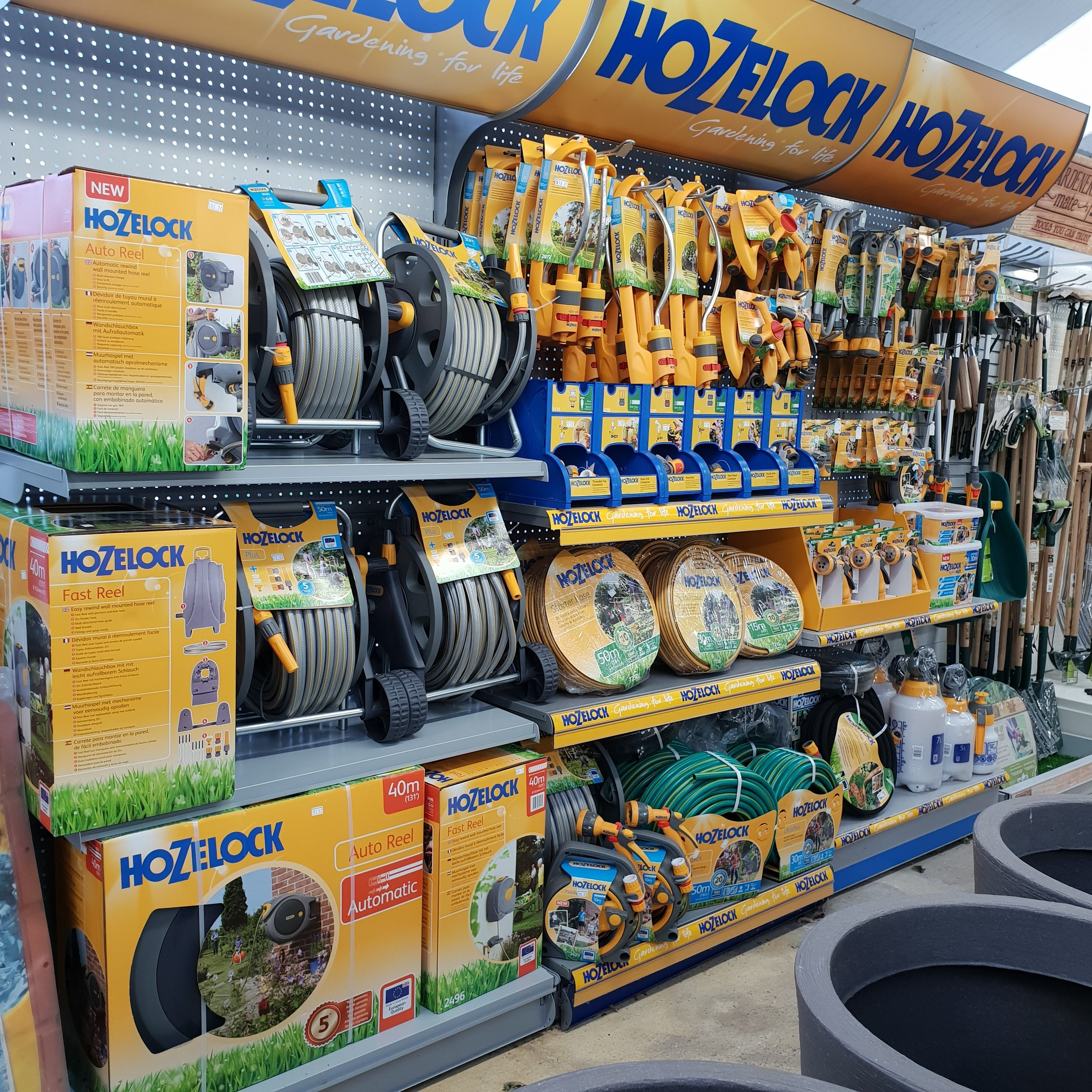 All things watering - Our range includes classic reels of garden hose to automatic reeling enclosed units and water activated shrink hose.For then end of the hose we have a selection of nozzles to water by hand or sprinklers and porous pipe for a self watering system.As well as all the connections in between.All our products are Hozelock designed and manufactured so quality is no worry.