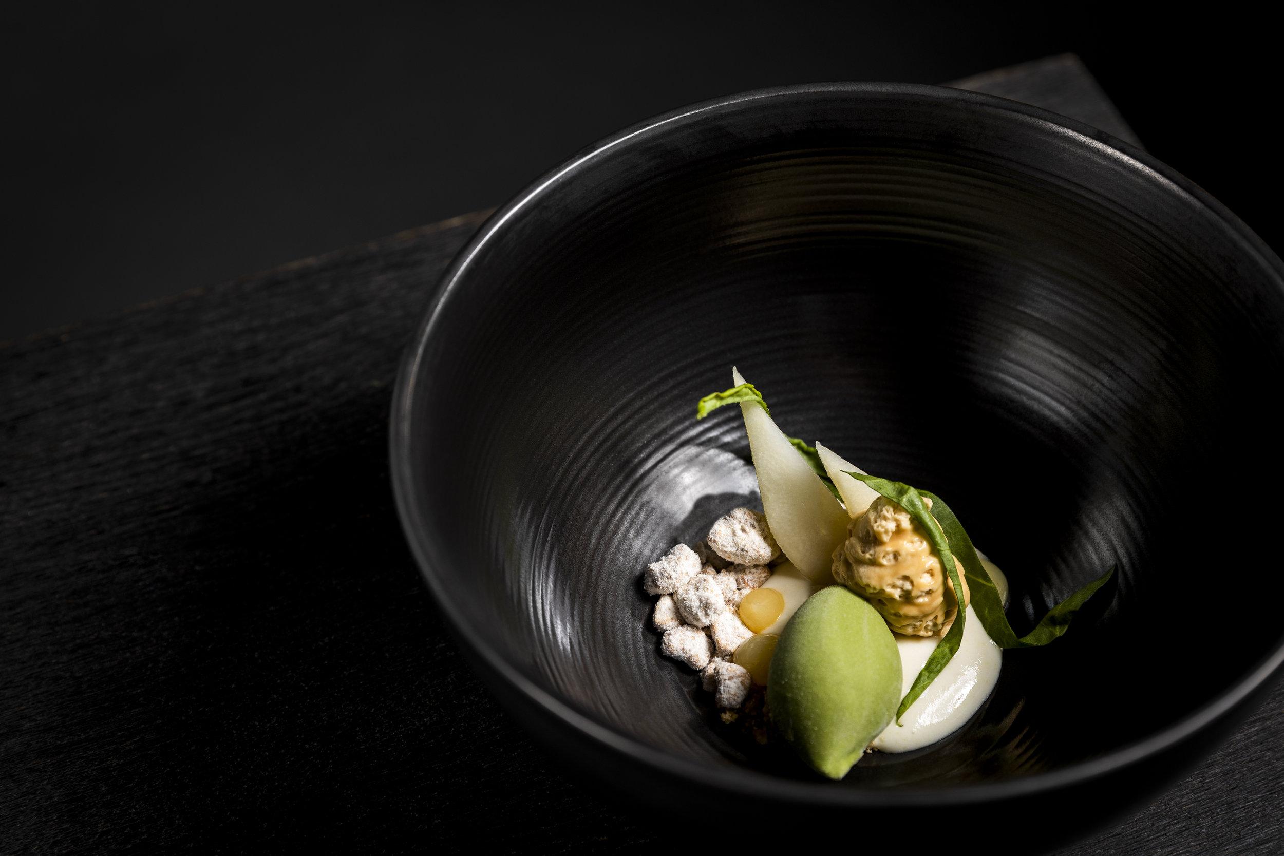 Dessert of Sorrel with pear and milk | Golvet | Tiergarten, Berlin