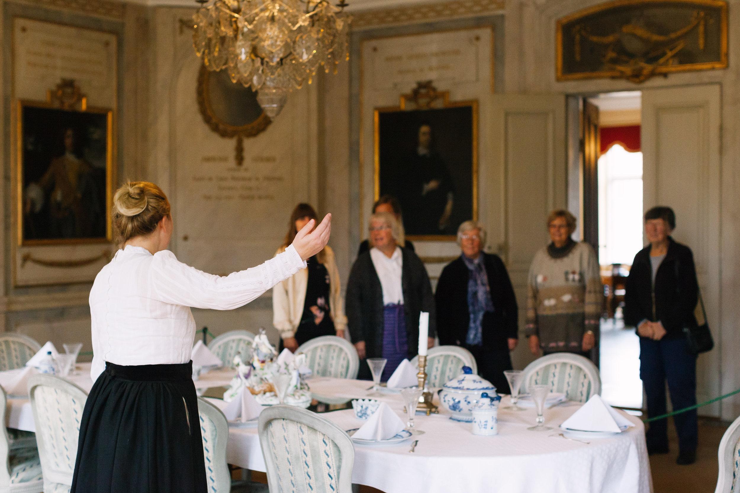 Visningar - Se det kopparfyllda köket och de vackra salongerna i herrgården och lär dig mer om familjen de Geers släkthistoria.