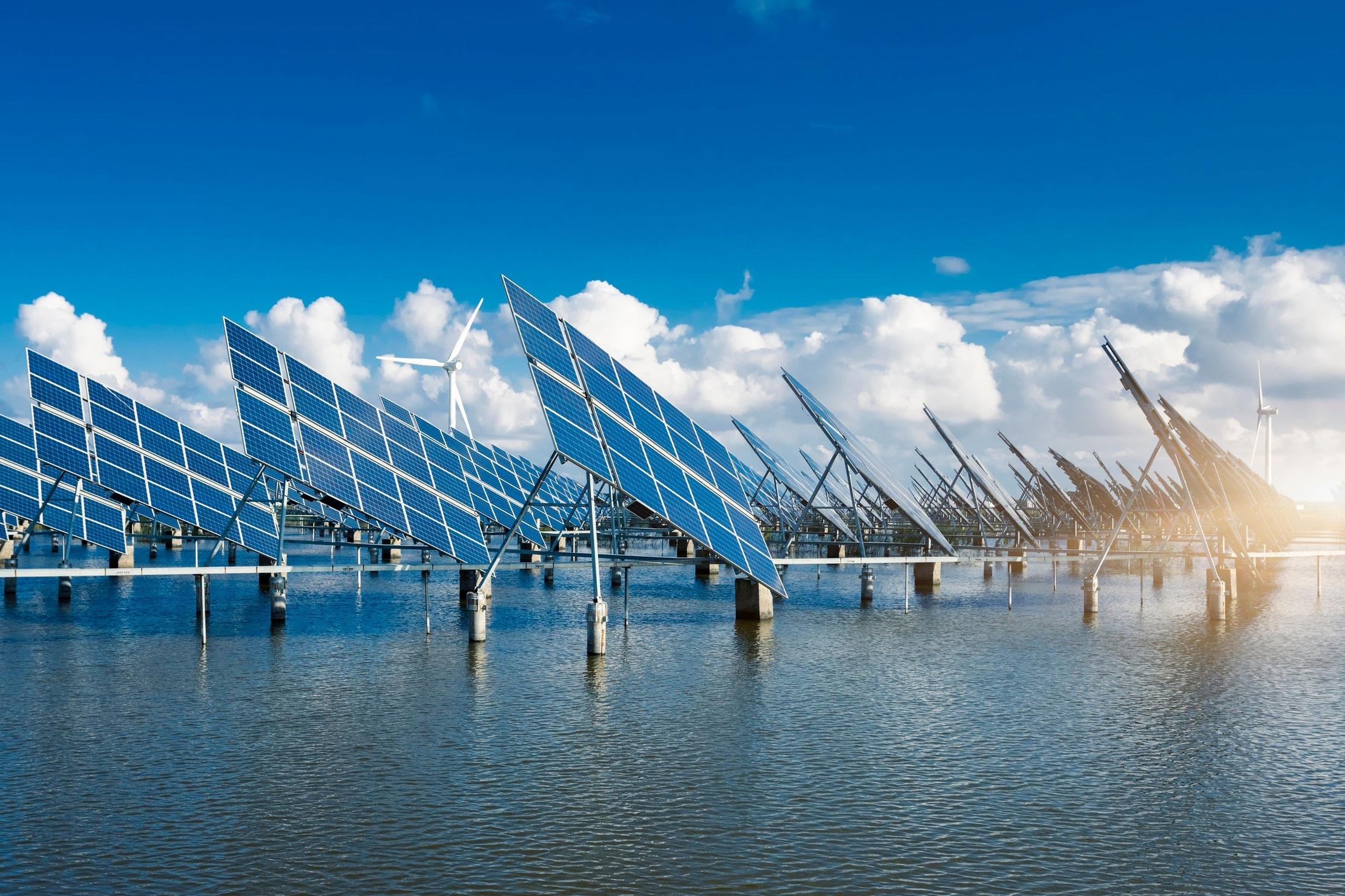 Solar farm and Wind turbines create clean energy