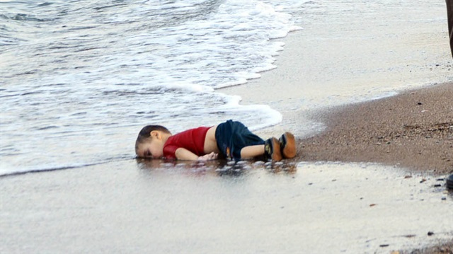 """Alan Kurdi, Summer 2015.  One of the most popular photographs of  """"the summer of crisis"""""""