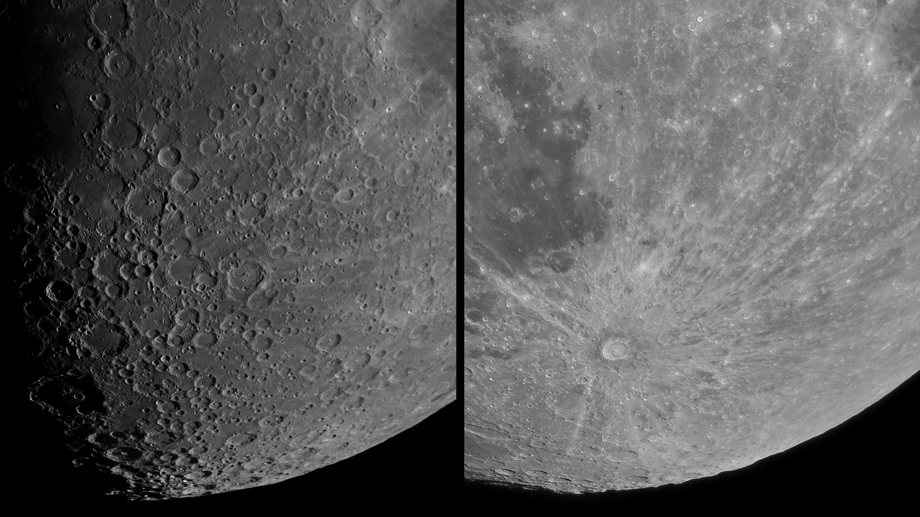 The southern region of the Moon, slightly past First Quarter (left) and Full (right)