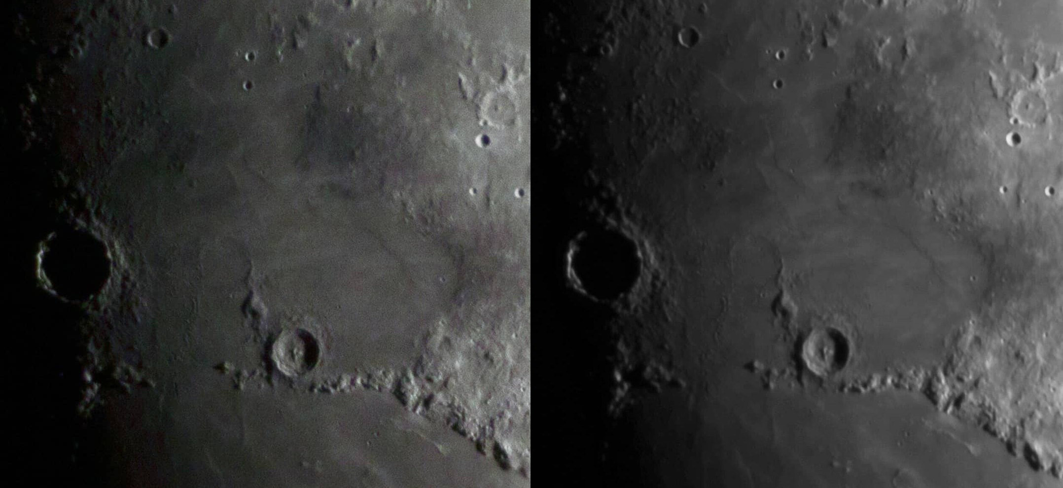 Single image (left) compared to 500 images stacked (right)