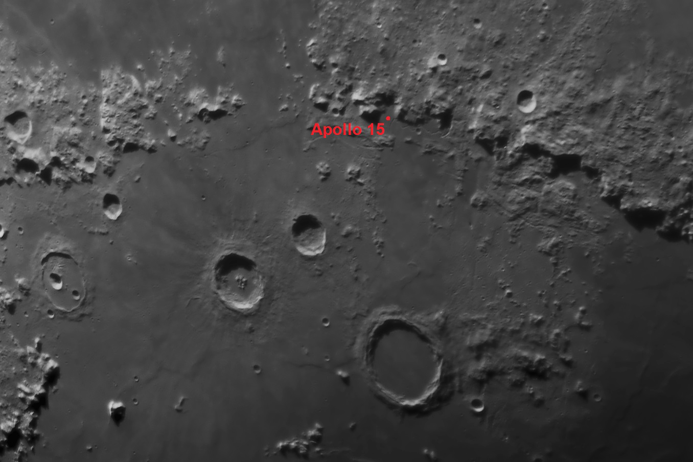 The Apollo 15 landing site located near the northern end of the Apennine mountain range