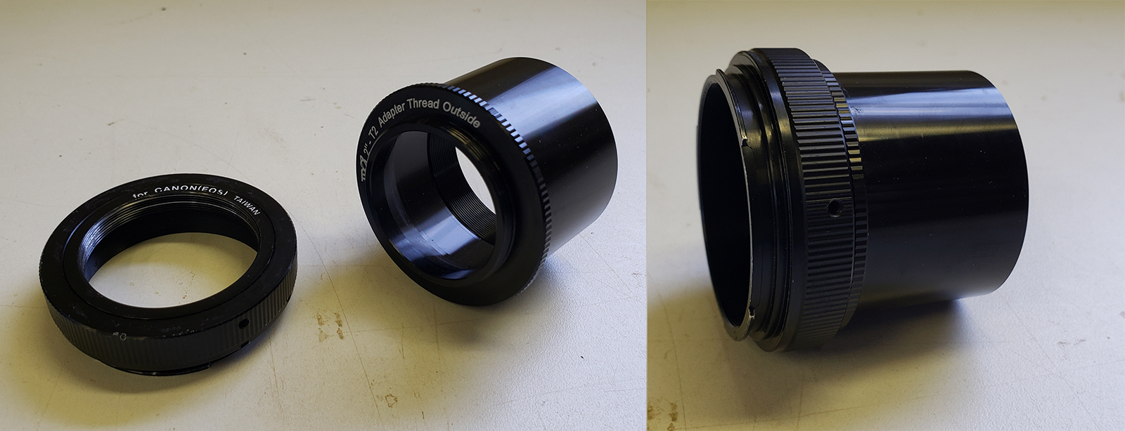 "A T-Ring & a 2"" threaded T-Adapter - together they can attach a DSLR to a telescope"