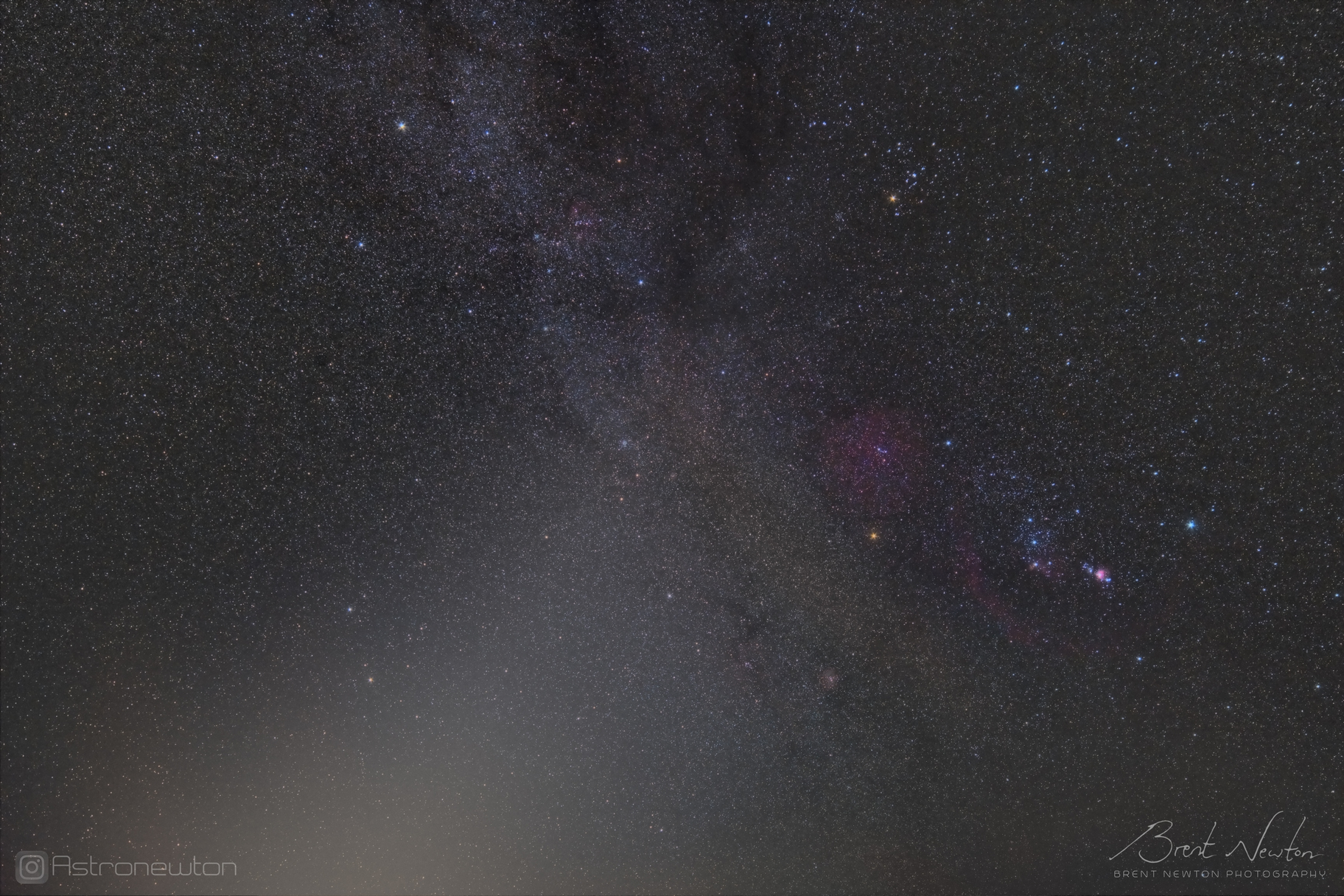 Zodiacal Light near Orion, captured in the early morning in September 2019 at a Bortle 2 site