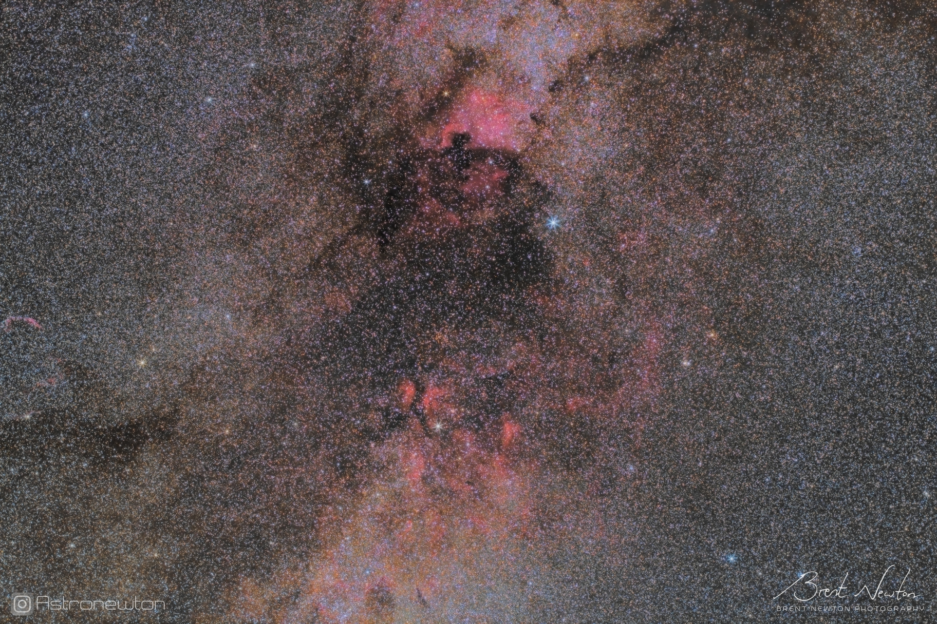 Cygnus midfield at 50mm, one hour total exposure from a Bortle 2 site