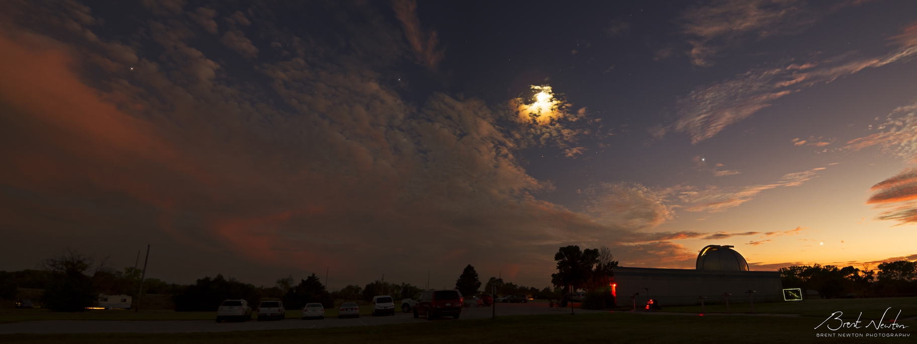 Widefield taken at Lake Afton Observatory west of Wichita. From left to right Mars, Saturn, the Moon, Jupiter, and Venus are all visible along the ecliptic. September 2018