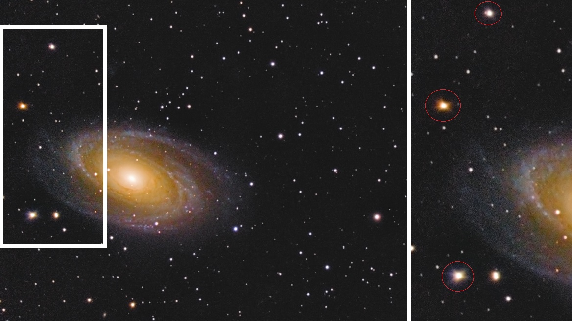 Elongated corner stars in a C8-produced image of M81